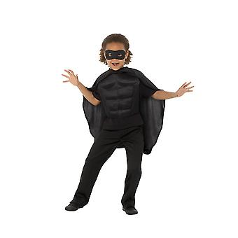 Kids superhelte Kit sort, Eyemask EVA & Cape, drenge Fancy kjole alder 8-12