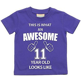 これは何の素晴らしい 11 年古いに見えるような紫の t シャツです。
