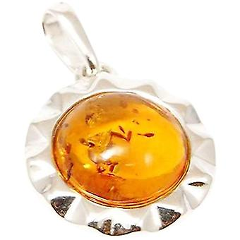 TOC Sterling Silver Crimped Amber Drop Pendant on 18 Inch Chain