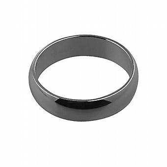 18ct hvidguld plain D formet Wedding Ring 5mm bred i størrelse Pedersen