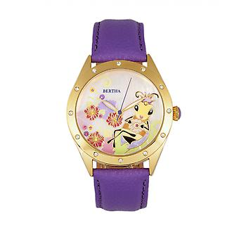 Bertha Ericka MOP Leather-Band Watch - Purple