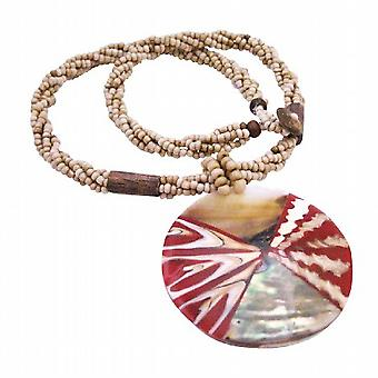 Shell Jewelry Beige Beaded Necklace w/ Shell Coral Pendant Necklace