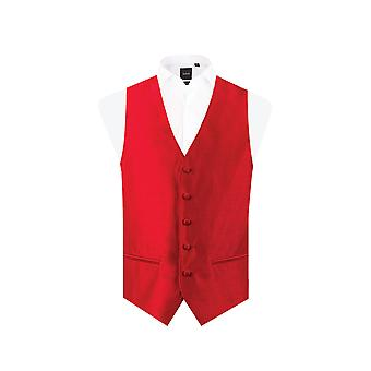 Dobell Mens Red Waistcoat Regular Fit Dupion 5 Button
