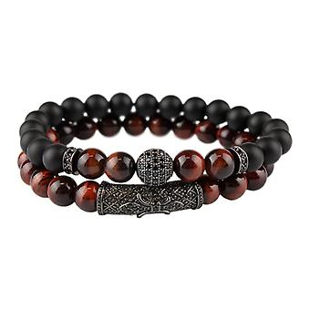 Bracelets, perles et strass, brun foncé