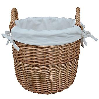 Large Wicker Linen Basket with a White Cotton Lining