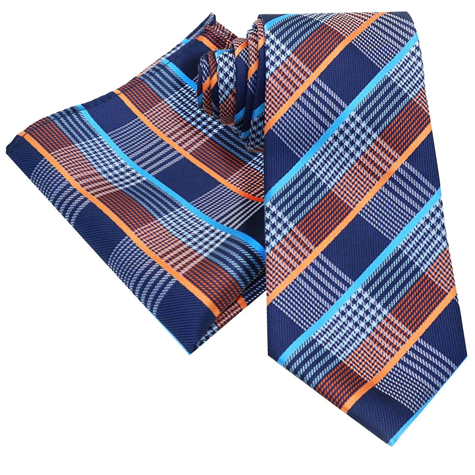 Orange grey & baby blue tartan pocket square & necktie