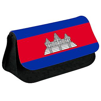 Cambodia Flag Printed Design Pencil Case for Stationary/Cosmetic - 0030 (Black) by i-Tronixs