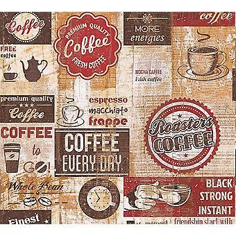 Bistro café Diner tapet køkken Vintage rød brun Beige præget