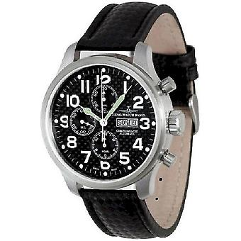 Zeno-watch mens watch oversized pilot carbon Chrono-date 8557TVDD-s1