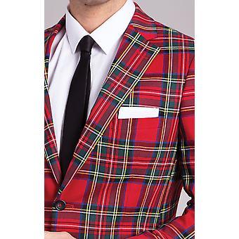 Dobell Herre rød Tartan jakkesæt jakke slim fit notch revers
