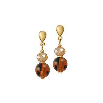Eternal Collection Regency Amber Tortoiseshell Czech Glass Drop Clip On Earrings