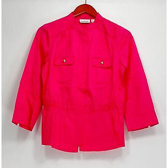 Joan Rivers Classics Collection Top jaqueta estilo militar rosa brilhante A232693