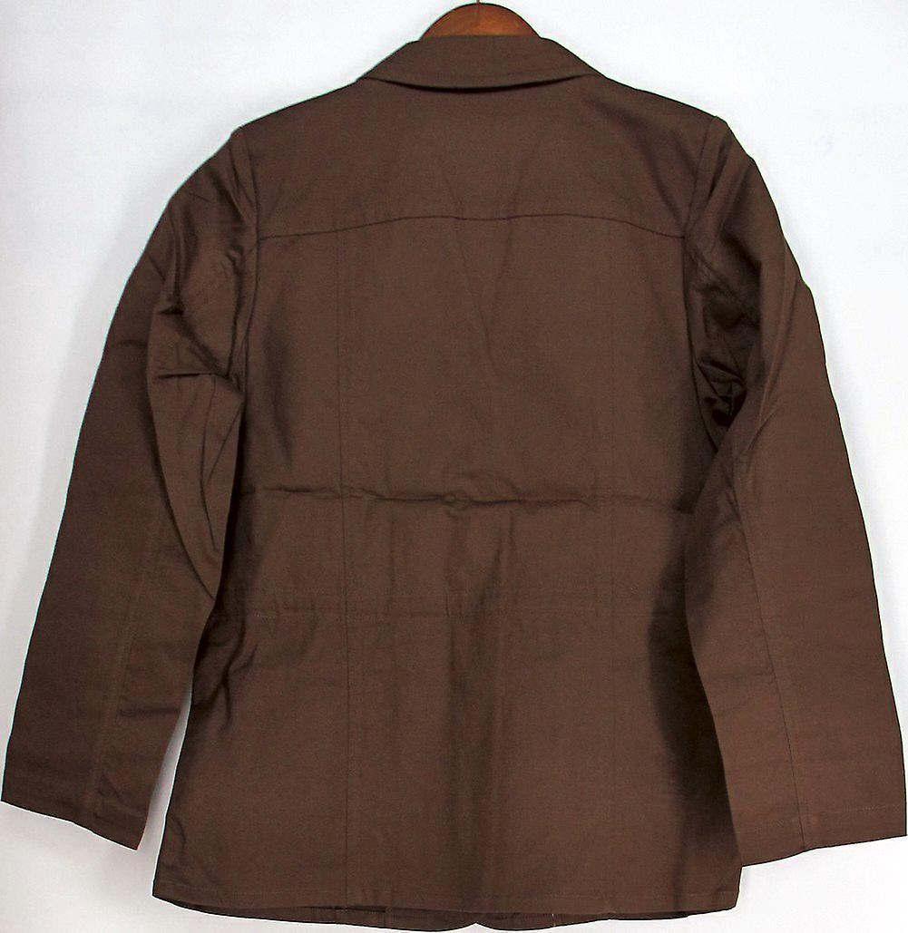 Denim & Co. Long Sleeve Stretch Canvas Utility Jacket Brown A212959