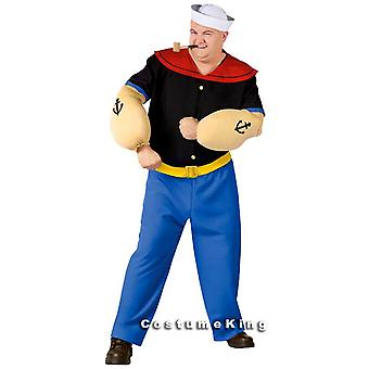 Popeye Sailor Licensed Dress Up Men Costume Plus