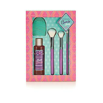 Sunkissed Cleanse Away Set - 120ml Brush Cleansing Gel, Brush Cleansing Pad, Highlight Brush, Blending Brush and Eyeshadow Brush