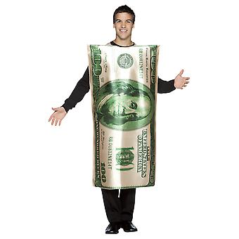 Adult $100 Dollar Bill Costume Novelty USA America Fancy Dress