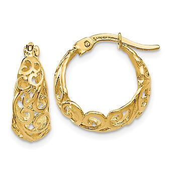 14k Yellow Gold Textured Hinged post Polished Hinged Hoop Earrings Jewelry Gifts for Women