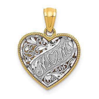 14k Two Tone Polished Filigree Sparkle Cut Gold Mini for boys or girls Reversible Mom Heart Pendant Measures 24.2x27.3mm