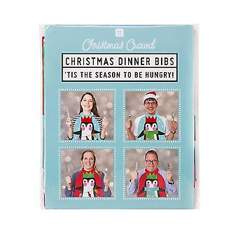 Penguin Christmas Party Fun Bibs x 8
