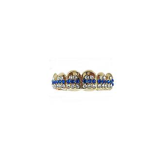 Grillz Guld Smoothice 48 Points Of Cz Sapphire N Clear Diamonds [top]