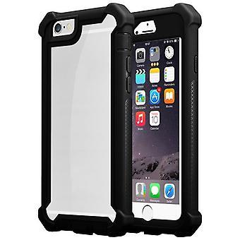 Cadorabo Hülle für Apple iPhone 6 / iPhone 6S Case Cover - 2-in-1 Handyhülle mit TPU Silikon-Rand und Acryl-Glas-Rücken – Schutzhülle Hybrid Hardcase Back Case