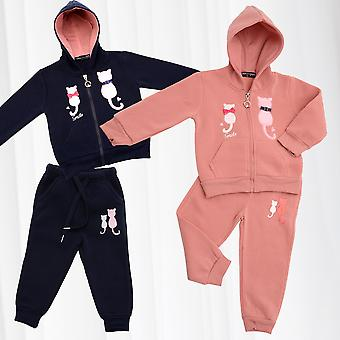 Kids Jogging Suit Girls House Suit Cats Ribbon Hoodie Sweat Pants 2 piece Set