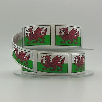 Union Jack Wear Welsh Red Dragon Ribbon 35mm