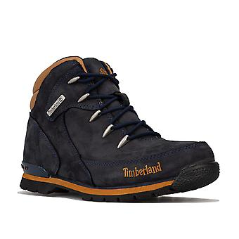 Junior Boys Timberland Euro Rock Hiker Boots In Blue- Lace Fastening- Cushioned