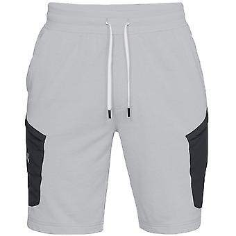 Under Armour Mens Microthreat Terry Sport Fitness Drawstring Jogger Shorts Grey