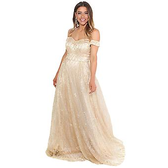 KRISP Women Ladies Off Shoulder Glitter Maxi Dress Wedding Evening Cocktail Long Gown