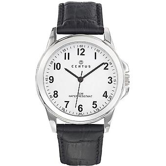 Homem de couro Certus 610743 relógio - preto