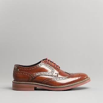 Base London Woburn Mens Polished Leather Brogue Shoes Tan