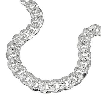 Chain 7, 7mm flat curb chain with pattern 925 Silver 50 cm