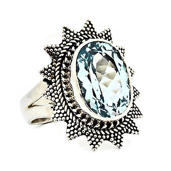 Ring 925 Silber mit Blau Topas 56 mm / Ø 17.8 mm (KLE-RI-040-62-(56))