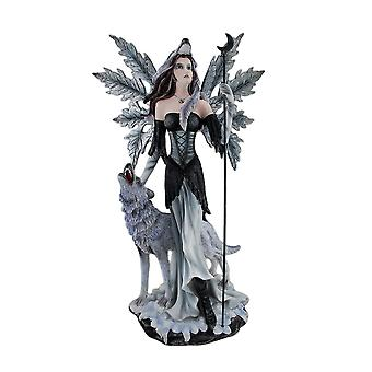 Pagan Winter Forest Fairy W/ Wolf Familiar Statue 23 Inches Tall