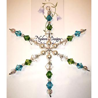 Handmade hanging Snowflake decoration in Green, Blue by Nyleve Designs
