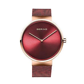 Uhr Bering 14539-363 - Bo Tier Stahl dor rose glänzend rot Zifferblatt rot Stahl Armband rot Mann