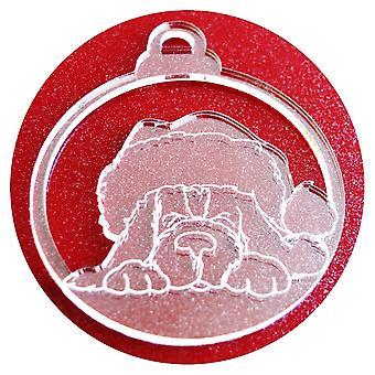 6 PK Weihnachten Hündchen in Nikolausmütze Acryl Weihnachtsschmuck