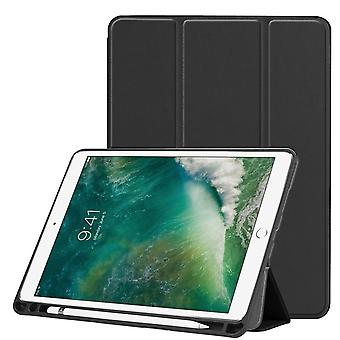 Voor iPad Air 3 (2019) case, Karst Texture PU Leather Folio Cover, Pen Slot, Zwart