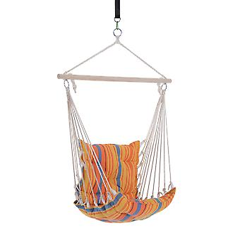 Outsunny Wooden Hammock Hanging Rope Chair Swing Seat max.105kg Load w/ High Quality Cotton Cloth and Ropes (Orange)