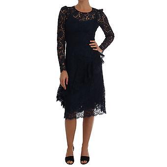 Vestido de bainha de renda floral Dolce & Gabbana Blue Taormina