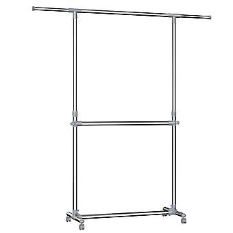 Adjustable mobile clothing rack with 2 rods - grey