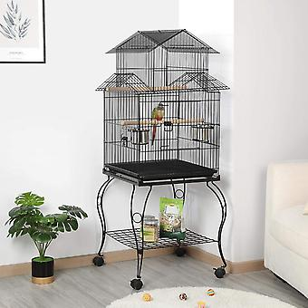 Triple Roof Top Rolling Parrot Cage Bird Cage for Mid-Sized Parrots Cockatiel Parakeet Green Cheek Conure Caique