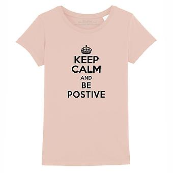 STUFF4 Girl's Round Neck T-Shirt/Keep Calm Be Positive/Coral Pink