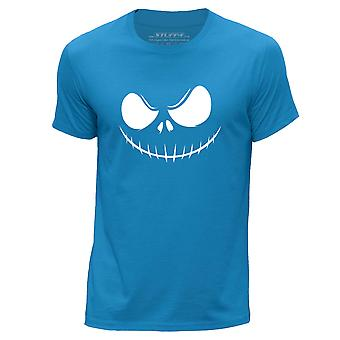 STUFF4 Men-apos;s Round Neck T-Shirt/Horror Movie / Skellington/Blue