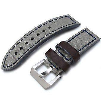 Strapcode leather watch strap 24mm miltat military grey leather washed canvas ammo watch strap in blue stitches