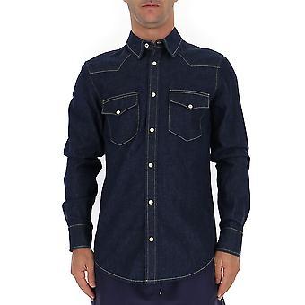 Alexander Mcqueen 567872qny624001 Hombres's Camisa de Mezclilla Azul