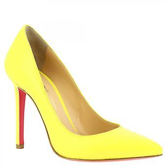 Leonardo Shoes Women&s ręcznie robione buty na wysokich obcasach pompy w żółtej skórze cielęcej