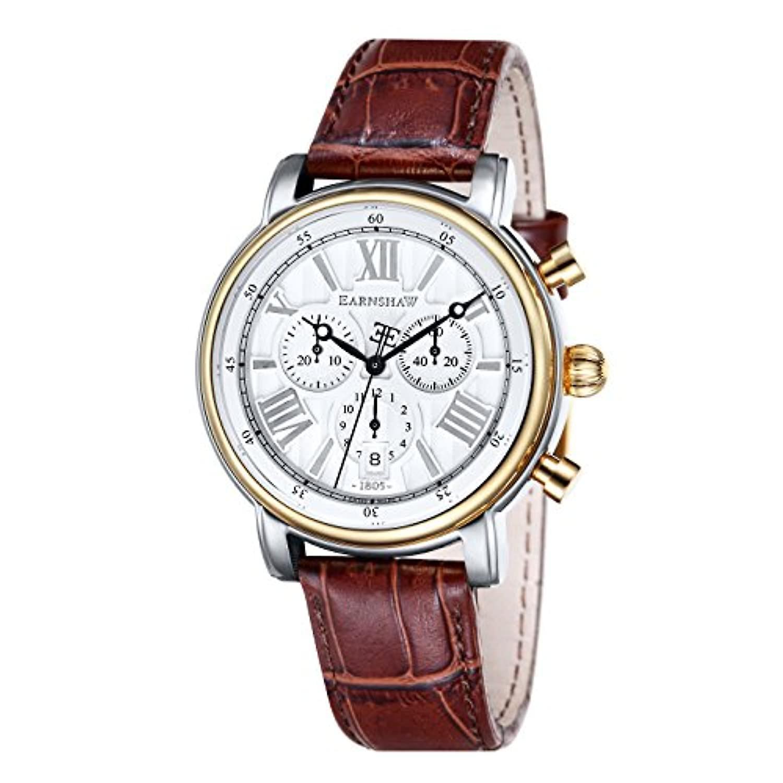 トマス ・ アーンショウ、43 の ES-0016-05-Longcase 時計腕時計、クロノグラフ表示男性、茶色の革ストラップ