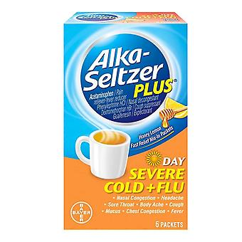 Alka-seltzer plus day severe cold + flu, mix-in, honey lemon, 6 ea